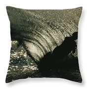 Slalom Waterskier Silhouette Throw Pillow