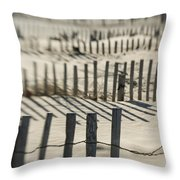 Slats Of Wooden Fence Throwing Shadows Throw Pillow