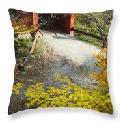 Slaughter House Bridge And Fall Colors Throw Pillow