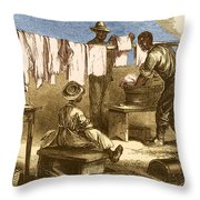 Slaves In Union Camp Throw Pillow by Photo Researchers
