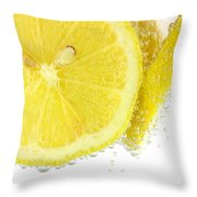 Sliced Lemon In Fizzy Water Throw Pillow