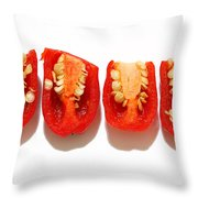 Sliced Red Peppers Throw Pillow