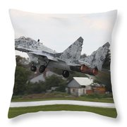 Slovak Air Force Mig-29 Fulcrum Taking Throw Pillow