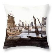 Sluice In China, 1800 Throw Pillow