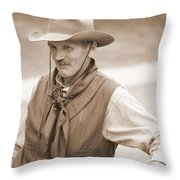 Sly Cowboy Throw Pillow