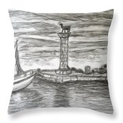 Small Boats At Rhodes Port Throw Pillow