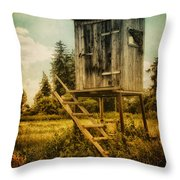 Small Cabin With Legs Throw Pillow