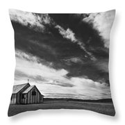 Small Country Church In Grass Field In Throw Pillow
