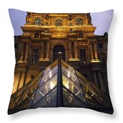 Small Glass Pyramid Outside The Louvre Throw Pillow by Axiom Photographic