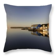 Small Harbour And Fishing Boat, Stanley Throw Pillow