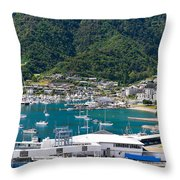 Small Idyllic Yacht Harbor  Throw Pillow