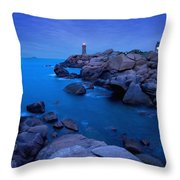 Small Lighthouse And House At Dusk Throw Pillow