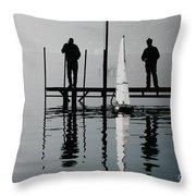 Small Sailing Boat Throw Pillow