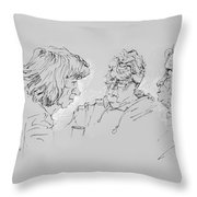 Small Talk  Over Coffee Throw Pillow by Ylli Haruni