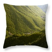 Small Towns In Mountain Throw Pillow