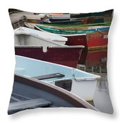 Small Wooden Boats Throw Pillow