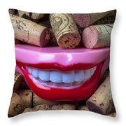 Smile Among Wine Corks Throw Pillow