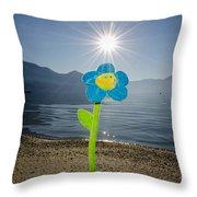 Smile Flower On The Beach Throw Pillow