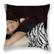 Smiles In Pigtails Throw Pillow