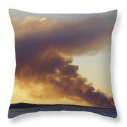 Smoke From A Wildfire Billows Throw Pillow