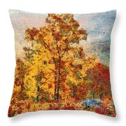 Smoke Tree In The Karst Throw Pillow