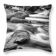 Smokey Mountain Stream Of Flowing Water Over Rocks Throw Pillow