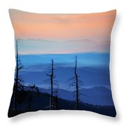 Smokey Mountain Sunset As Seen From Clingman's Dome Throw Pillow