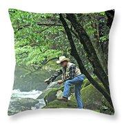 Smoky Mountain Angler Throw Pillow