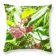 Snail On Leaf Throw Pillow