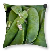 Snap Peas Please Throw Pillow by Susan Herber
