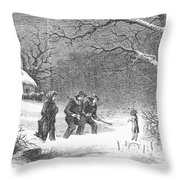 Snaring Rabbits, 1867 Throw Pillow