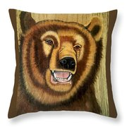 Snarling Grizzly Throw Pillow