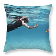 Snorkeler Photographing Green Turtle Throw Pillow