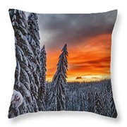 Snow And Sunrise Throw Pillow