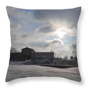 Snow At The Art Museum - Philadelphia Throw Pillow