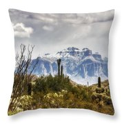 Snow Atop The Superstitions Throw Pillow