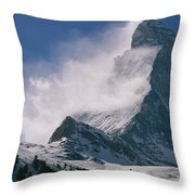 Snow Blows Off Of The Matterhorn Throw Pillow