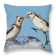 Snow Buntings And Ice Throw Pillow