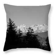 Snow-capped Mountain And Trees Throw Pillow