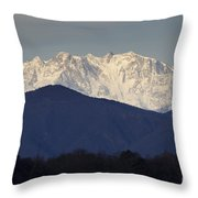 Snow-capped Mountain Monte Rosa Throw Pillow
