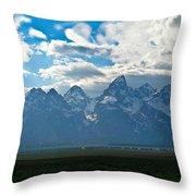 Snow Capped Teton Mountains Throw Pillow
