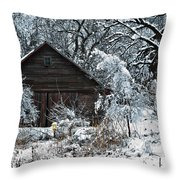 Snow Covered Barn Throw Pillow