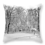 Snow Covered Throw Pillow