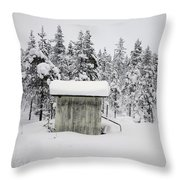 Snow Covered Cabin By Forest Throw Pillow