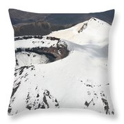 Snow-covered Ngauruhoe Cone, Mount Throw Pillow by Richard Roscoe