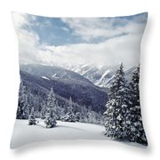 Snow Covered Pine Trees On Mountain Throw Pillow