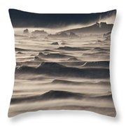Snow Drift Over Winter Sea Ice Throw Pillow by Antarctica