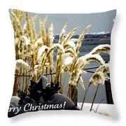 Snow Dust Christmas Card Throw Pillow