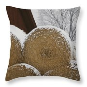 Snow Dusts Rolls Of Hay Throw Pillow