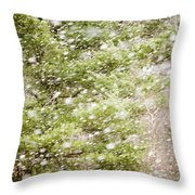 Snow Falling In Front Of Pines Throw Pillow